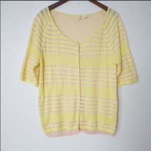 MOTH Striped Button Up Short Sleeve Cardigan Top